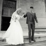 Real Bride Genevieve wears Fleur by Naomi Neoh - Bride & Groom walking down church steps