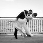 Real Bride Laura wears Elsa by Eliza Jane Howell - On the cruise ship deck image Black & White