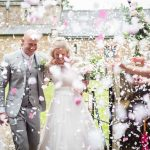 Real Bride Alicia wears Naomi Neoh - Bride & Groom confetti shot