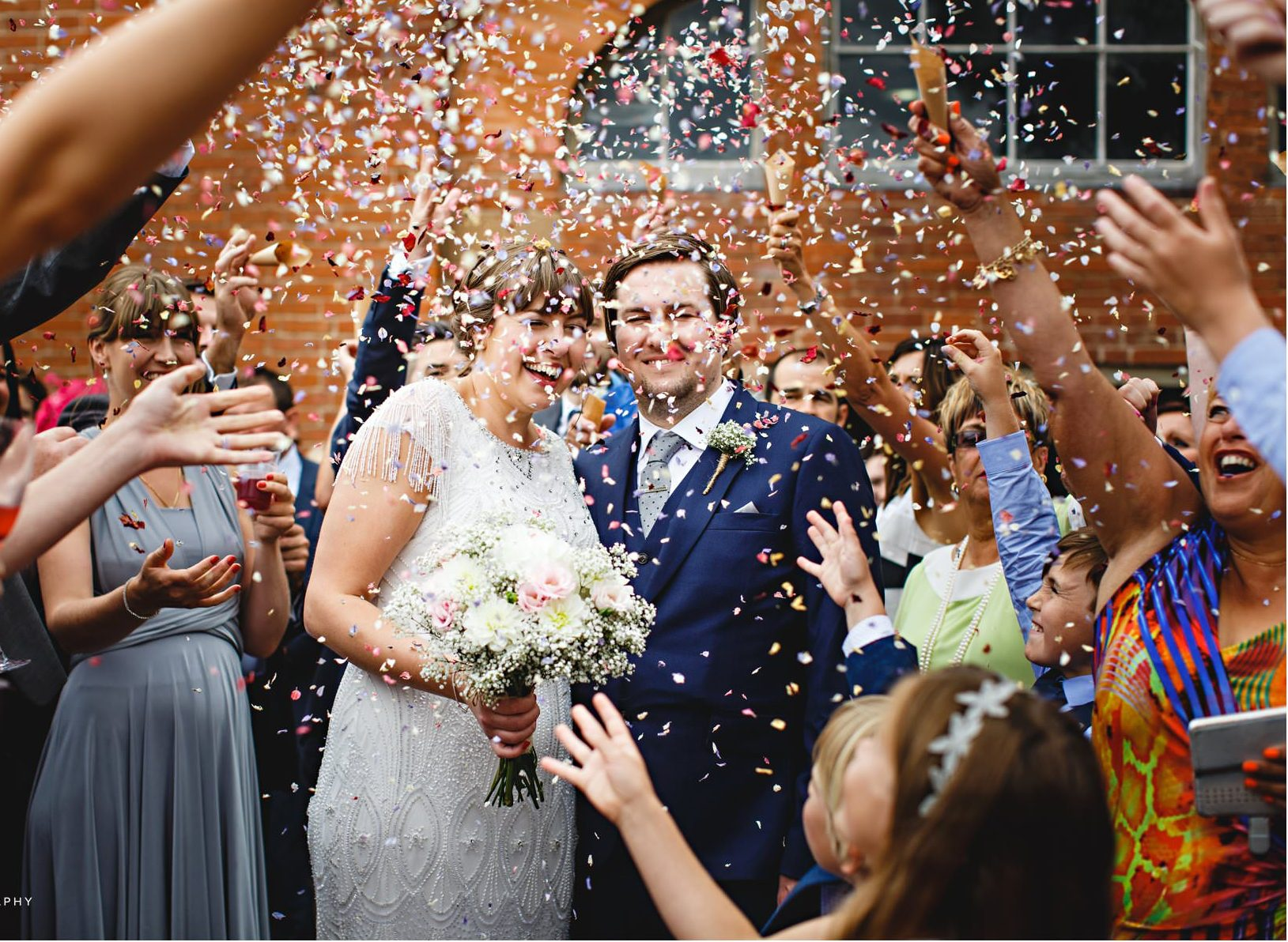 Real Bride Amy wears Fleur by Eliza Jane Howell - Bride & Groom confetti image