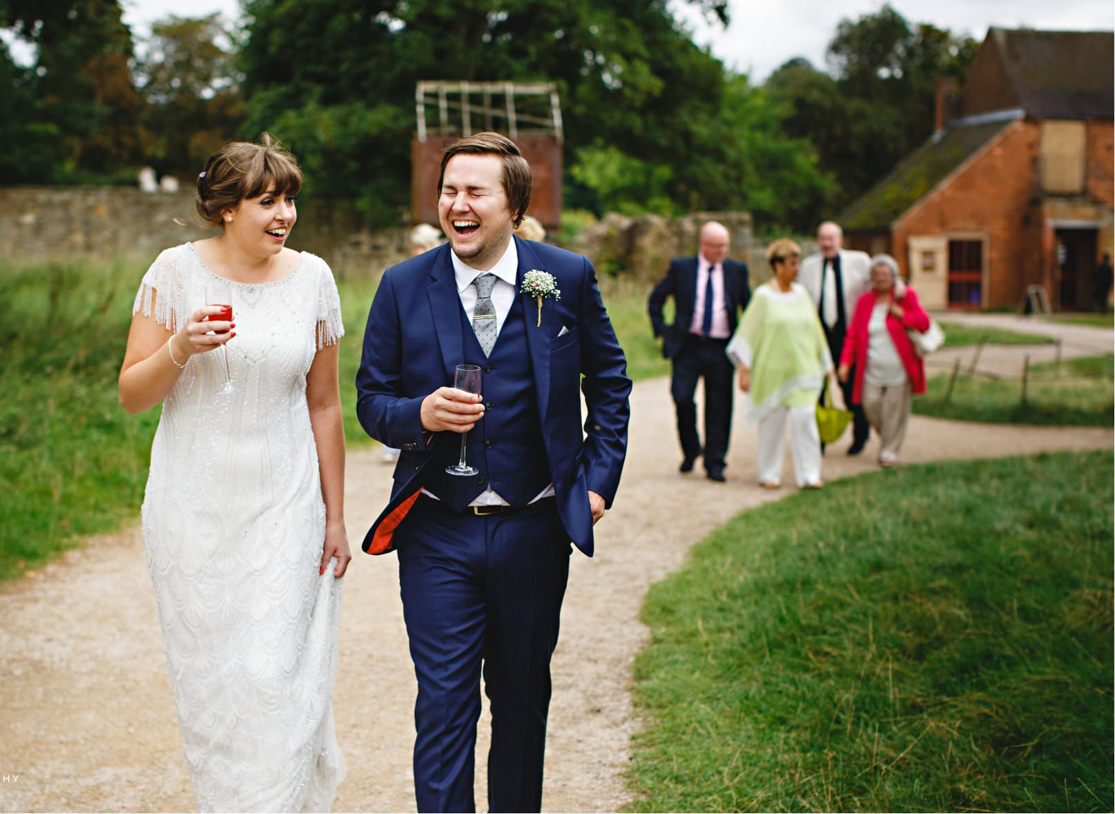 Real Bride Amy wears Fleur by Eliza Jane Howell - Bride & Groom Laughing