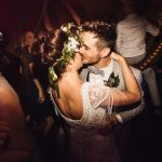 Real Bride Rachel wears Violet by Eliza Jane Howell - Kissing