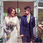 Real Bride Shanessa wears Caroline by Eliza Jane Howell - Bride & Groom Confetti Shot