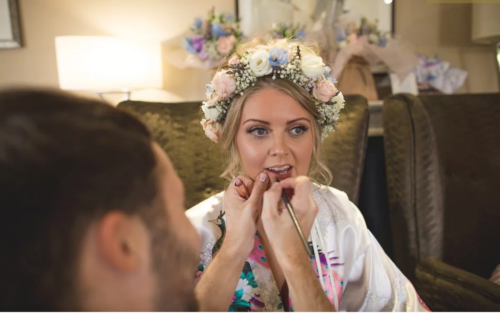 Real Bride Rebecca wears Charlie Brear 1950.7 - Wedding Make-up - Cicily Bridal Leicester