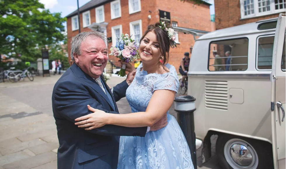 Real Bride Rebecca wears Charlie Brear 1950.7 - Father of the bride & bridesmaid - Cicily Bridal Leicester