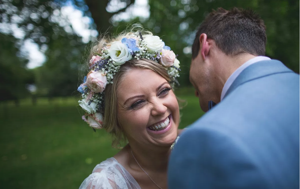 Real Bride Rebecca wears Charlie Brear 1950.7 - Bride Laughing - Cicily Bridal Leicester