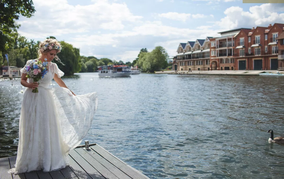 Real Bride Rebecca wears Charlie Brear 1950.7 - Bride by the water- Cicily Bridal Leicester