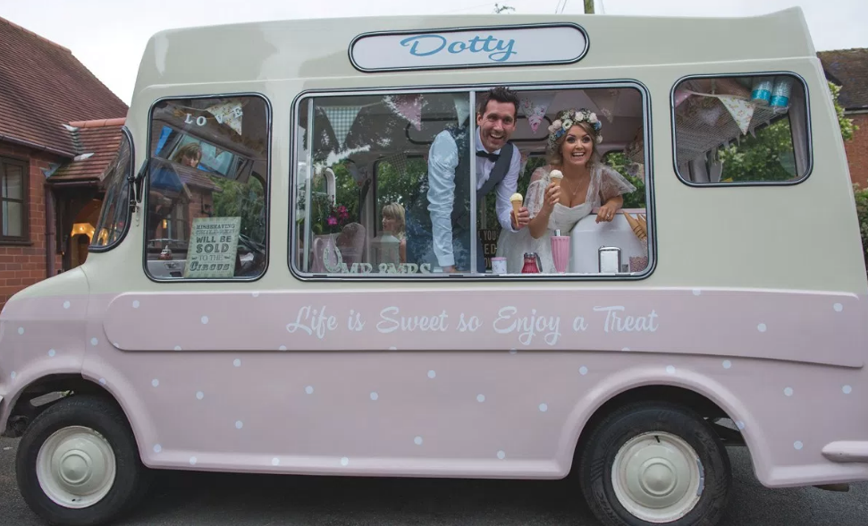 Real Bride Rebecca wears Charlie Brear 1950.7 - Bride & Groom in Ice Cream Van - Cicily Bridal Leicester
