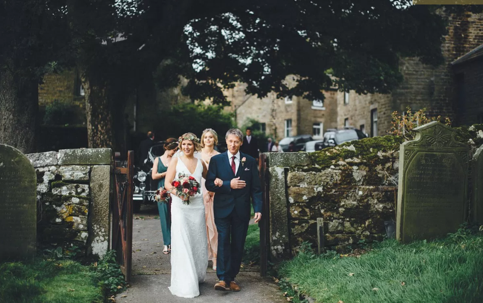 Real Bride Lucy wears Charlie Brear 1920.2 - Church yard - Cicily Bridal Leicestershire