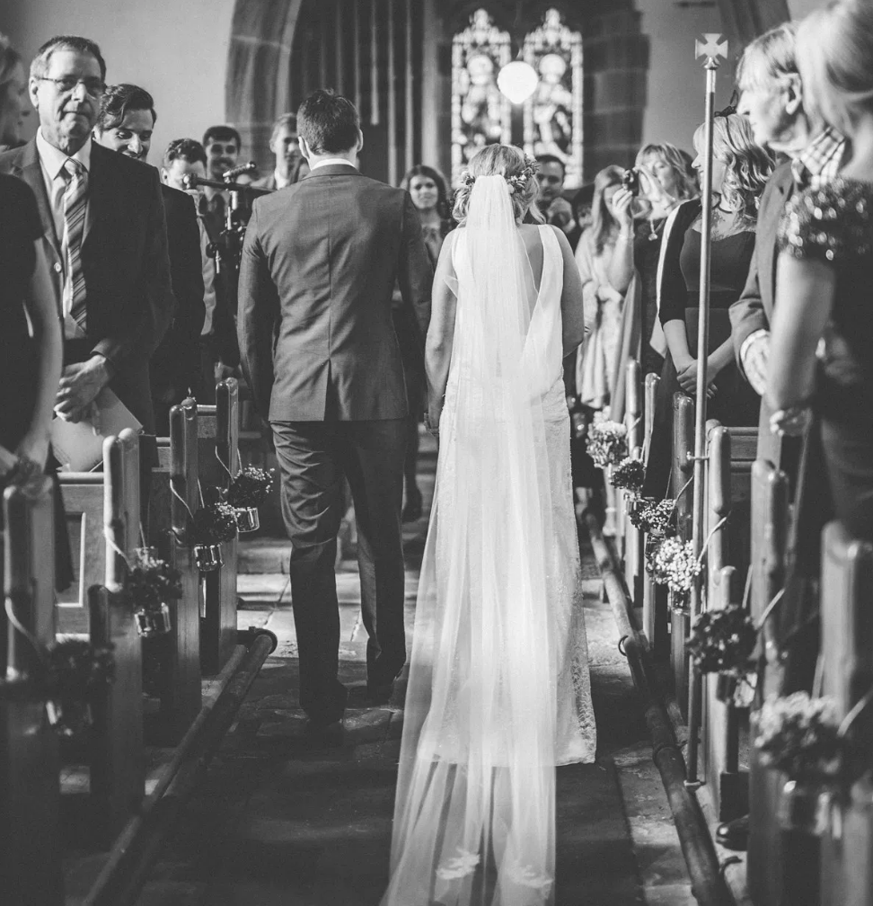 Real Bride Lucy wears Charlie Brear 1920.2 - Black & Whote Alter Image 2- Cicily Bridal Leicestershire