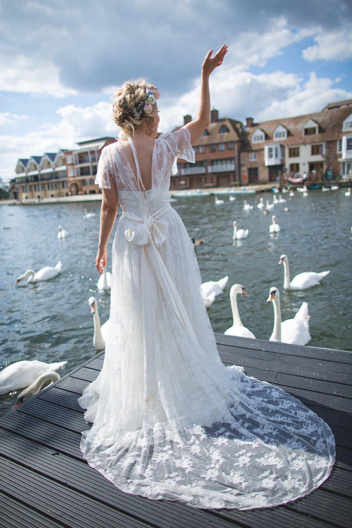 Real Bride Rebecca wears Charlie Brear 1950.7 - Bride by Water with swans- Cicily Bridal Leicester