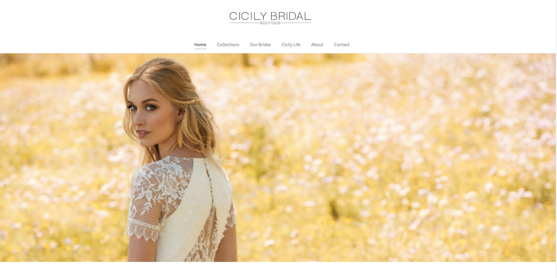 Cicily Bridal Website Homepage