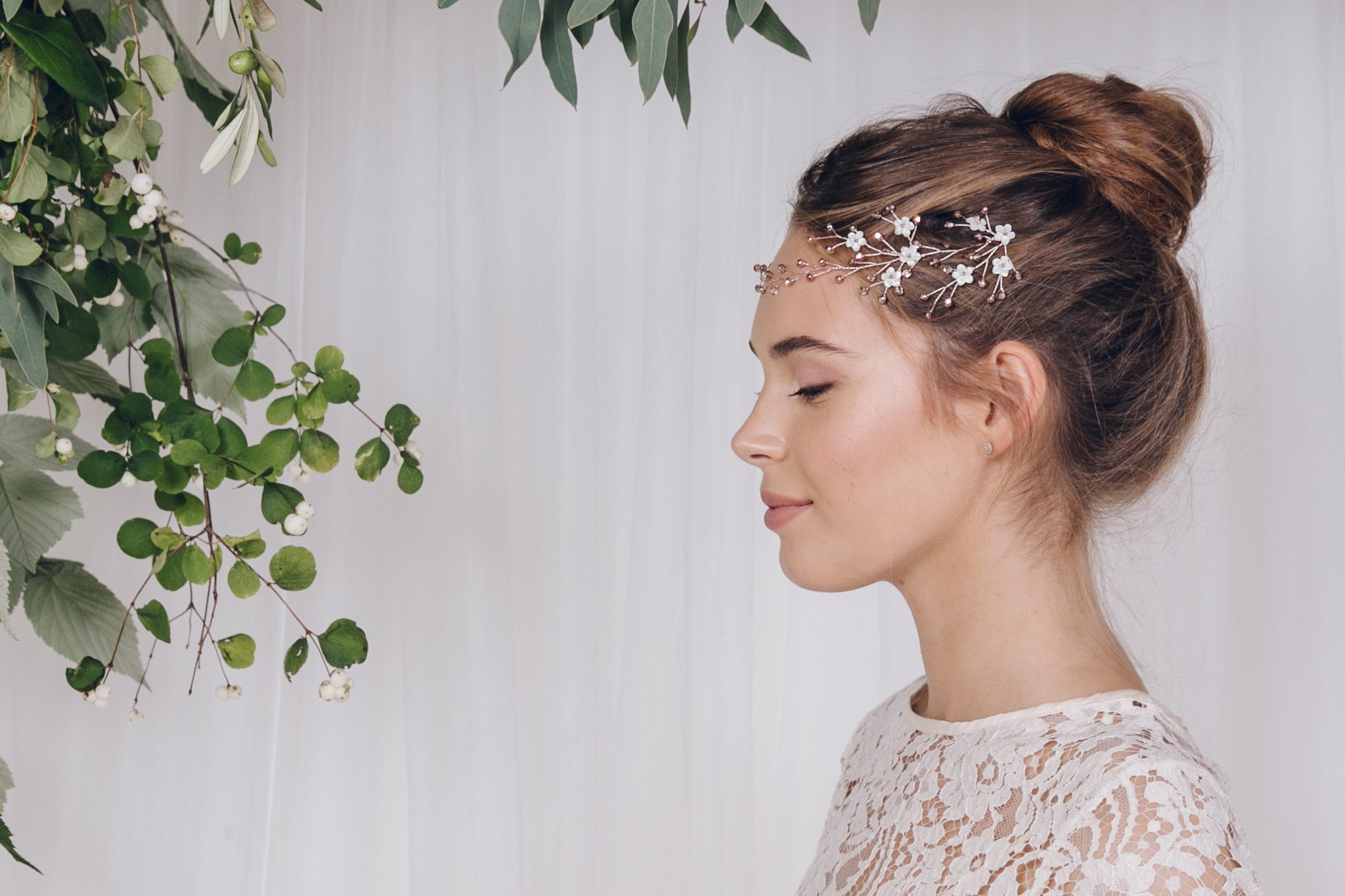 Coralie_rose_gold_browband_hair_vine_with_top_knot_up_do_Debbie Carlilse Accessory Event at Cicily Bridal