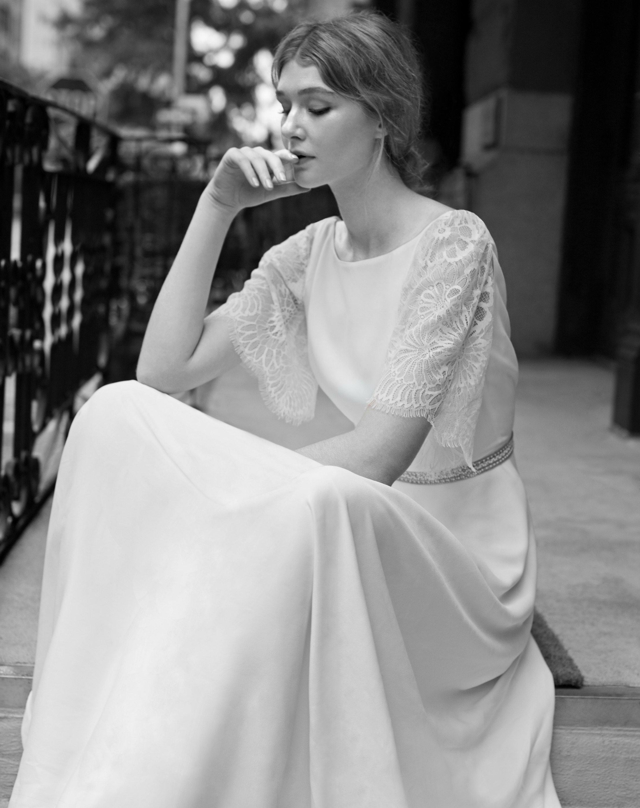 Charlie Brear Lawton Wedding Dress with keala Sleeves at Cicily Bridal