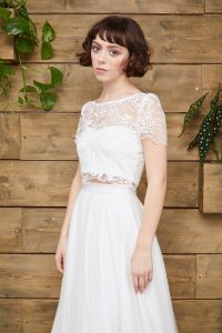 Indie crop top and Scarlett tulle skirt by E & W Couture at Cicily Bridal