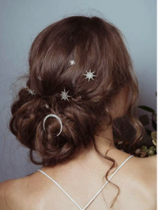 Andromeda star and moon pins by Flourish at Cicily Bridal