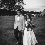 Real Bride wearing the Harwood wedding dress by Charlie Brear from Cicily Bridal
